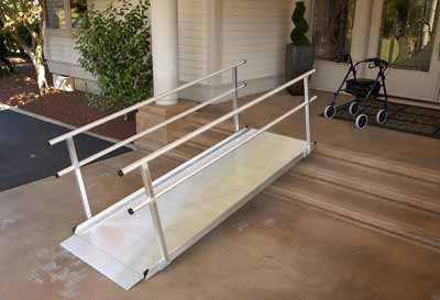 10 foot Pathway Wheelchair Ramp with Handrails