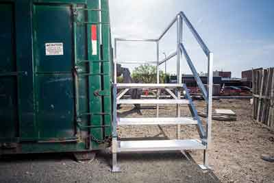 Use portable steps to access trailers, dumpsters office stairs and more