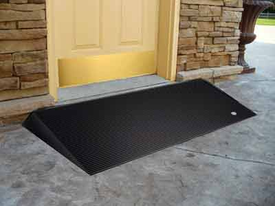 Rubber threshold ramps and curb ramps for wheelchairs